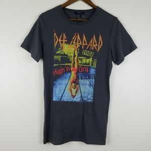 Forever 21 Cotton Def Leppard Band Tee Dark Grey
